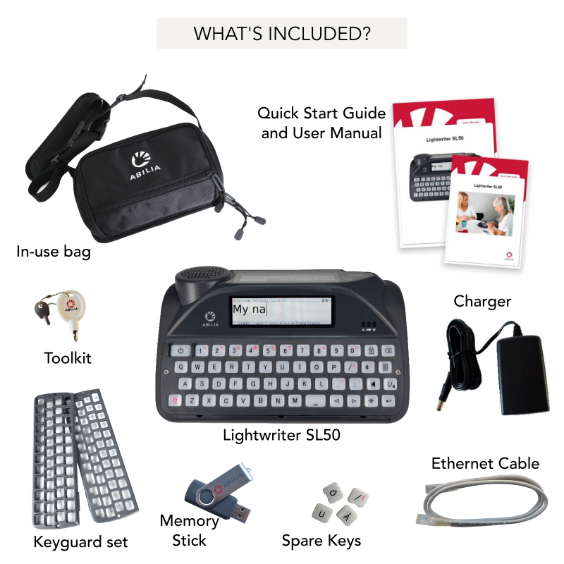 Lightwriter SL50 What's Included - Sentient Healthcare