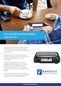 Lightwriter SL50 Brochure Cover - Sentient Healthcare
