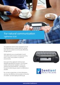 Lightwriter SL50 Brochure Cover - Sentient Healthcare