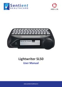 Lightwriter SL50 User Manual Cover - Sentient Healthcare